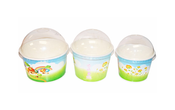 Paper cups and lids for frozen yogurt